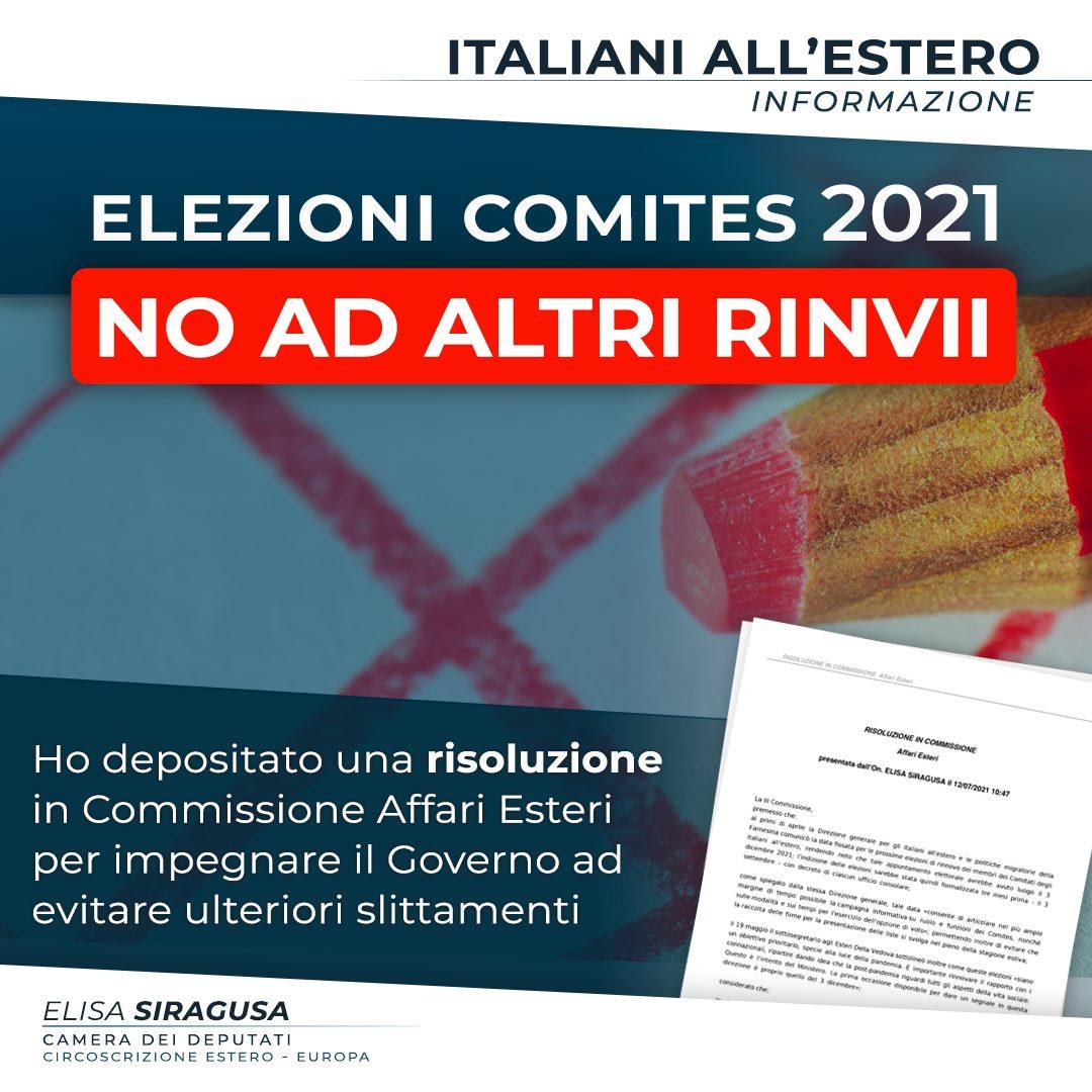 Elezioni Comites: no ad ulteriori rinvii