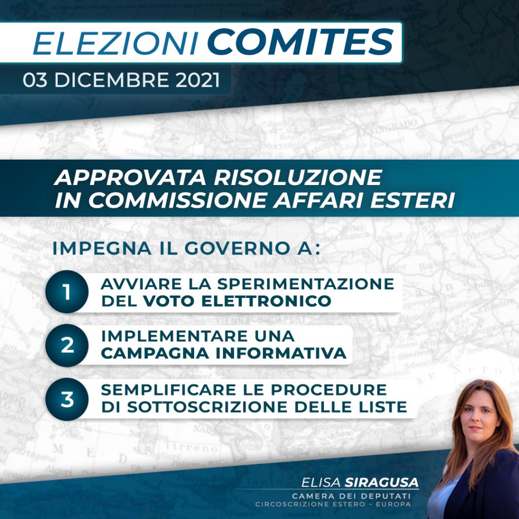 Elezioni Comites: approvata risoluzione in Commissione