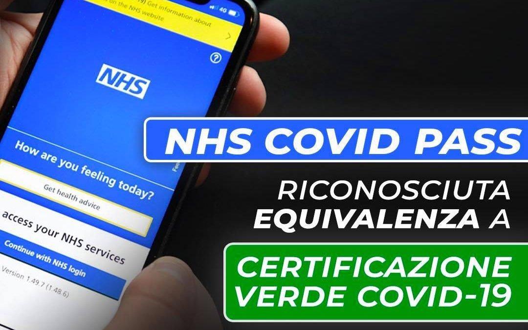 Riconosciuta equivalenza tra Green Pass e NHS Covid Pass