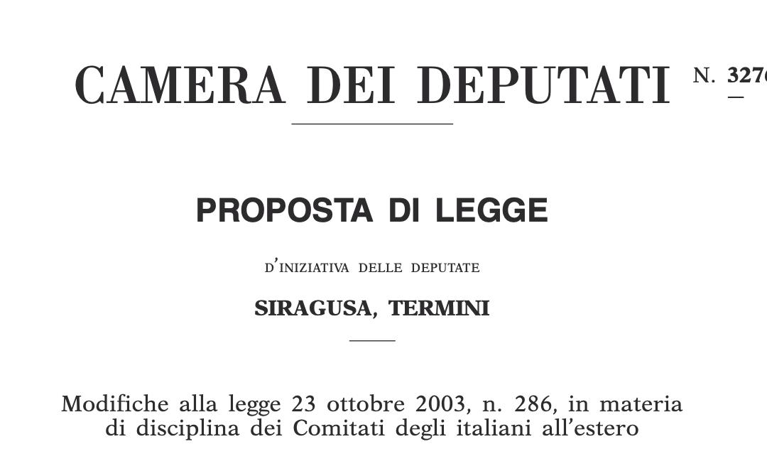 La mia proposta di legge per la riforma dei Comites